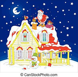 Santa with gifts on a rooftop - The night before Christmas,...