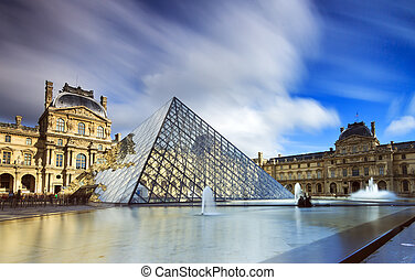 Louvre reflection clouds - Beautiful view of the Louvre...