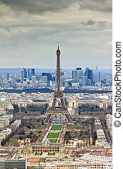 Eiffel tower from Montparnasse - Beautiful aerial cityscape...