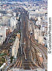Gare Montparnasse aerial view seen from the Tour...