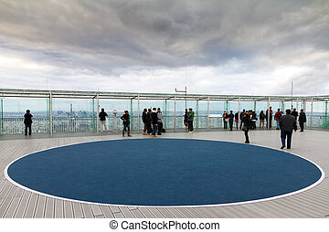 Montparnasse rooftop - Tourists at the roof of the Tour...