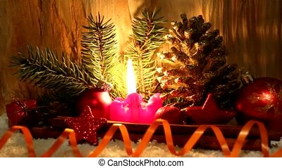 Christmas decoration und Advent candle. - Burning candle,...