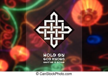Asian religious ornament. Vector geometric design on blurred...