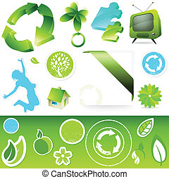 Green Icon buttons - A collection of eco green elements