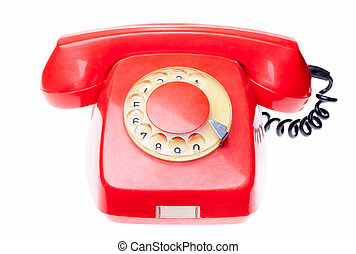 Old red phone isolated - Old vintage red rotary dial...