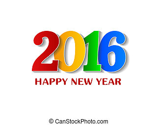 2016 Happy New Year colorful design over white background.