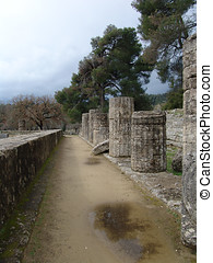 Ruins of Olympia, Greece - Stone ruins in Ancient Olympia,...