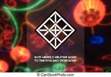Asian religious ornament Vector geometric design on blurred...