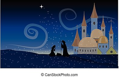 Scene Jesus Christ Nativity Baby Christian Holy Night Vector...