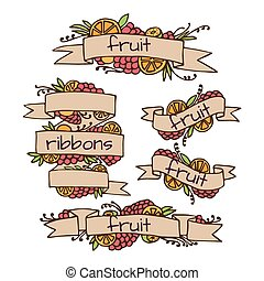 Set of doodle ornate fruit ribbons
