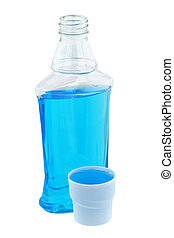 Antiseptic mouthwash liquid - A cap full of light blue post...