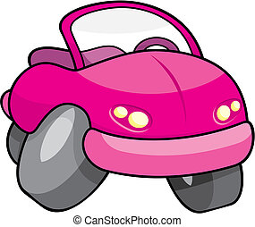 Pink cartoon car vector - Pink toy cartoon car isolated on...