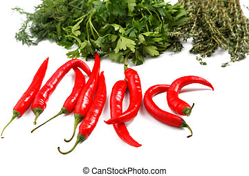 chilli pepper  parsley thyme on a white background