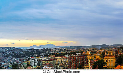 Sunset over Naples in a summer day in Italy