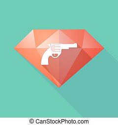 Long shadow diamond icon with a gun - Illustration of a long...