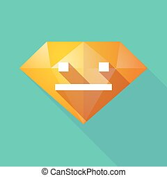 Long shadow diamond icon with a emotionless text face -...