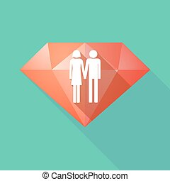 Long shadow diamond icon with a heterosexual couple...