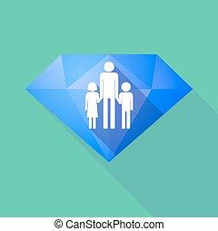 largo, sombra, diamante, icono, con, Un, macho, solo, padre,...