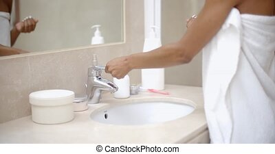 Girl Washes Hands - Close up of a girl washes hands in the...