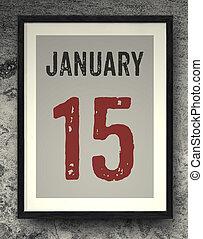 January calendar on the photo frame - 15 January calendar on...
