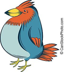Colourful big bird - Vector image of a happy colourful...