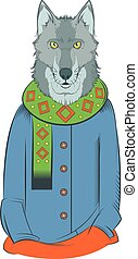 Colourful winter wolf