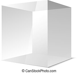 Four transparent gray glass cubes, vector eps10 illustration