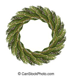 Traditional wreath of spruce branches for Christmas...