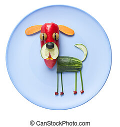 divertido, vegetal, perro, en, azul, placa,