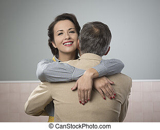 Happy couple embracing - Happy vintage couple 1950s style...