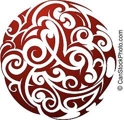 Maori style tattoo - Maori ethnic circle tattoo shape...