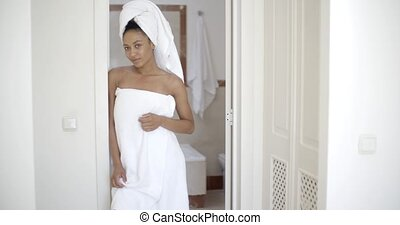 Woman Wearing Bath Towel - Happy african-american woman...