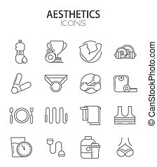 Vector modern thin line flat design of icons set Fitness and...