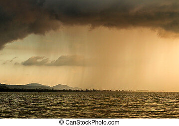 Sky with bad weather with rainstorm - Evening view of the...