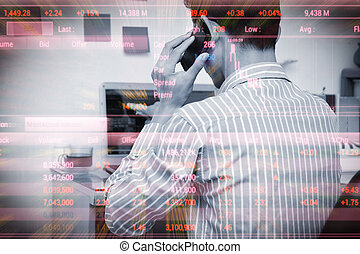 Businessman analysis the stock invest , Trade for self...