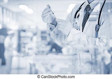 Blurred nurse in emergency room