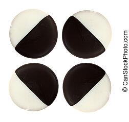 Chocolate and vanilla iced cake cookies
