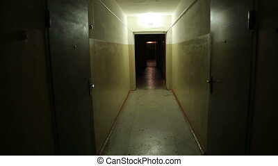 Walks Down the Creepy Hallway - Walking down the corridor ,...