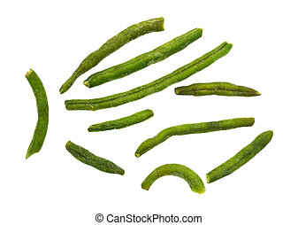 Dried green beans on a white background