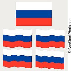 Flat and Waving Flag of Russia Country