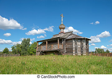 Old wooden church on the hill
