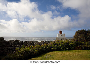 light house over cloudy sky in Tofino canada