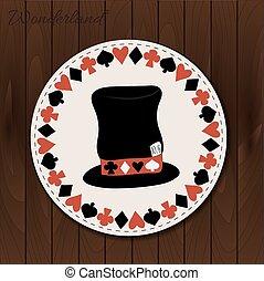Hatter hat - drink coaster from Wonderland. - Hatter hat -...