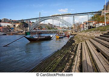 Porto and Vila Nova de Gaia Cityscape - Dom Luis I Bridge...