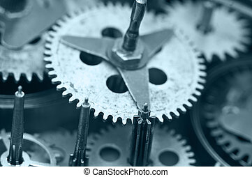 Gearwheels inside clock mechanism Macro - Gearwheels inside...