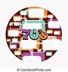 70s Music Disc Vintage Art Background