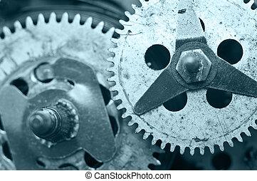 Gearwheels inside clock mechanism Macro - Gearwheels inside...