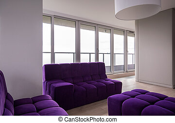 Modern sitting room - Horizontal view of modern sitting room...