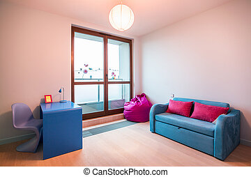 Designed room for schoolgirl - Horizontal view of designed...