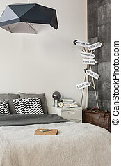 Contemporary room with signpost decoration